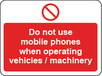 No mobile phones - machinery sign