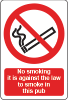 No smoking pub sign