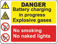 danger battery chargin sign