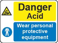 danger acid wear sign